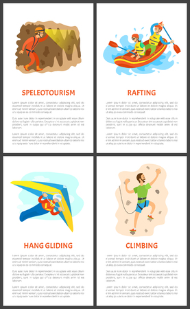Extreme sports set vector, speleotourism and skydiving. Wall climbing and rafting summer hobby posters set with text, active people skydiver and climber