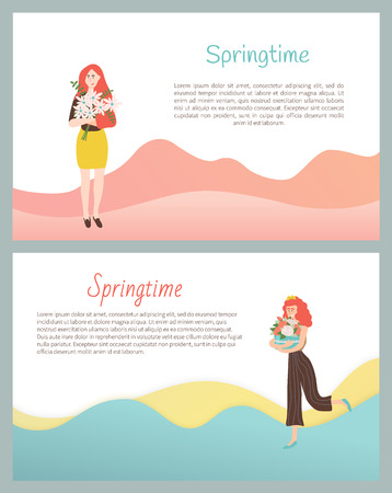 Springtime posters with female cuddling present on international womens day.