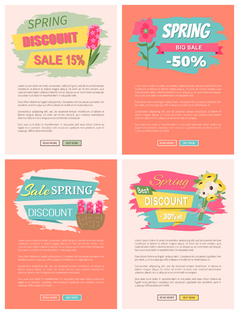 Sale, discount and best offer, label for springtime promotion and advertising, daisy bouquet. Ilustrace