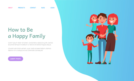How to be happy family, mother and father parents with kids vector. Male and female couple, wife and husband with children relaxing on holiday outdoors Banque d'images - 124009725