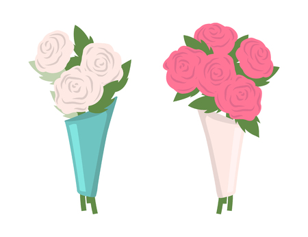Flowers put in bouquet vector, set of isolated icons. Roses in blue and white wrappings, botanical decoration for holiday. Blossom and flourishing