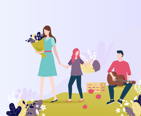Man playing guitar in park vector, woman with child holding bouquet of flowers and foliage. Man and woman, mother with daughter walking by musician Illustration