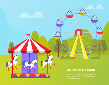 Carousel with horses vector, amusement park for kids and adults, ferris wheel and spinning attractions. Forest with trees and greenery, poster with text