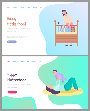Happy motherhood vector, woman caring for newborn child sleeping in cradle covered with warm blanket. Childhood and playing with baby laying mat. Website or webpage template, landing page flat style Illustration