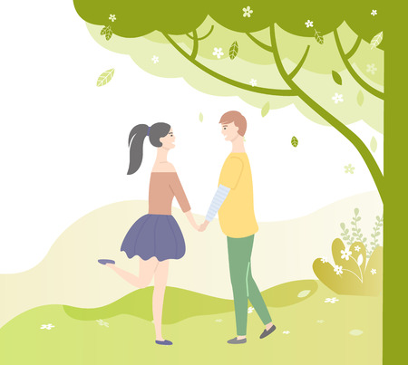 People in love under green tree. Vector dating teenagers, girl in short skirt, boy in yellow sweater and trousers. Sudents in lovers, male and female