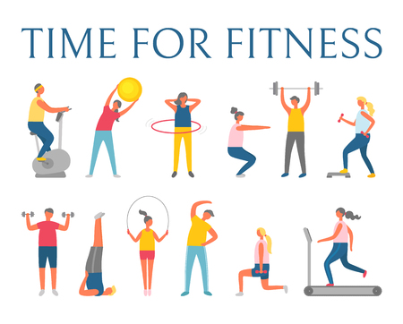 Time for fitness, people doing fitness with sport items. Ball and exercise bike, big  hoop, heavy weight or dumbbells, running track, healthy vector