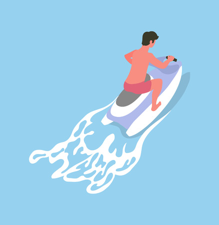 Man driving on waterbike, summer activity, back view of human in short riding on jetski, watersoprt flat design. Aqua transport for going by sea vector