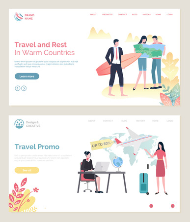 Time to travel vector, touristic agency woman looking at laptop search tour for client,. Businessman holding surfing board, man and lady with map. Website or webpage template, landing page flat style