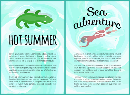 Hot summer vector, crocodile inflatable toy on water and hot adventures summertime. Woman wearing scuba diving equipment, person snorkeling hobby Stock Illustratie