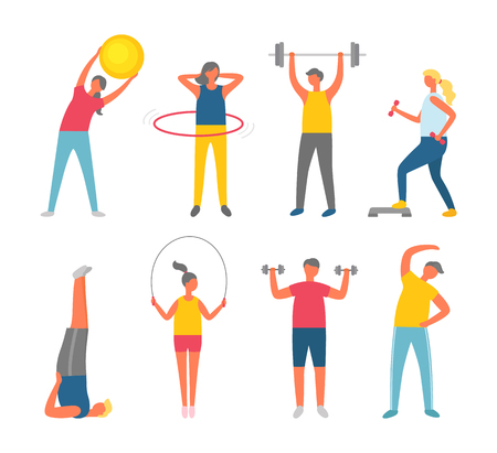 Sporty people set isolated on white, man and woman in sportwear exercising. Ball and dumbbell, hula hoop, skipping rope, stretching or yoga vector