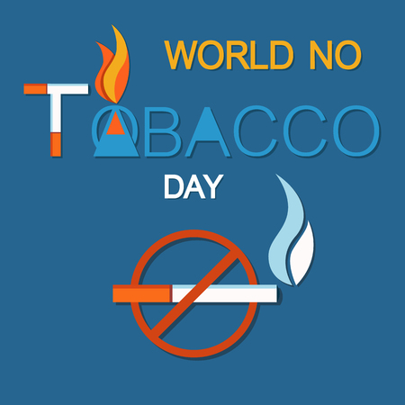 World no tobacco day, no smoking sign crossed burning cigarette, not allowed forbiddance of smoke in public place vector illustration of cigar in red circle Illustration