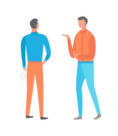 Longitud total de personas de pie, retrato y vista posterior, hombres vestidos con ropa azul y naranja. Hombre posando con la mano hacia arriba, estilo plano de humanos