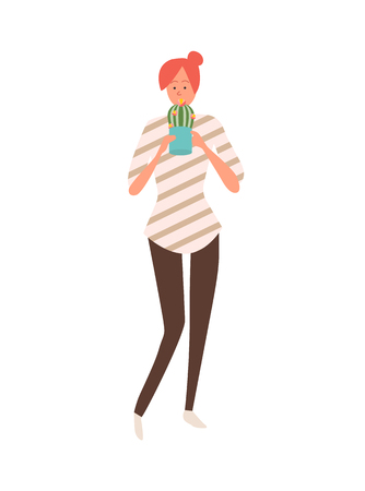 Girl with cactus in pot isolated female in flat style. Vector girl with flower as gift, Valentines day or 8 March present, surprise on holiday blooming plant Ilustrace