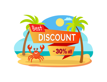 Best discount 30 percent off advertisement label with cartoon crab among palm trees at coastline. Vector omar at sea, hot summer sale promo sticker