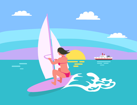 Summer background, sun and windsurfing woman, female surfing, waves and sunset, ship vector. Person on board wearing swimsuit, surforboarder on vocation Standard-Bild - 123969338