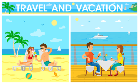 People spending time by seaside relaxing together vector. Sunshine on beach, seaside and seascape, summer vacation holidays of couple, romantic dinner