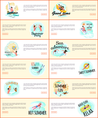 Summer fun and sea adventures vector, people by seaside website pages. Lady laying on lifebuoy, windsurfing and scuba diving, man on mattress, swimming Иллюстрация