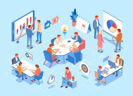 Persona que explica el vector de infografías, presentación a bordo con información. Personas que trabajan en computadoras, jefes y empleados en reuniones, conferencias de negocios Ilustración de vector