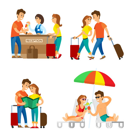 Reception and beach, travelers couple on vacation vector. Man and woman with baggage checking in, girl and guy with map and in swimsuits with cocktails