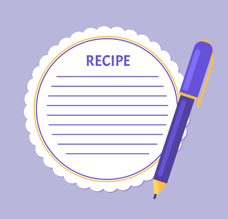 Recipe page empty sheet of paper with spare place to write in ingredients. Template of page from cookery book, food notice blank with pen or pencil, mockup Stock Illustratie