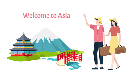 Welcome to Asia vector, mountain and traditional architecture of Asian countries. Man and woman walking with bags and baggage. Bridges and river, building 일러스트