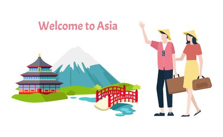 Willkommen in der asiatischen Vektor-, Berg- und traditionellen Architektur asiatischer Länder. Mann und Frau gehen mit Taschen und Gepäck. Brücken und Fluss, Gebäude