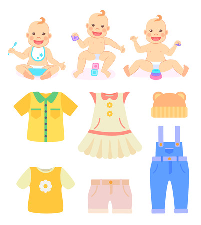 Children and clothes vector, baby holding spoon and eating, kid playing with cubes. Dress for girl and bodysuit for boy, clothing for newborn kiddos Reklamní fotografie - 123969343