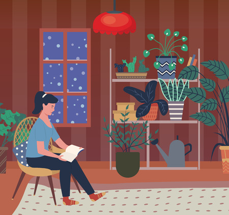 Winter evening vector, woman reading book sitting in chair in room with plants and green foliage in pots. Watering can on shelf, snowing weather outdoors