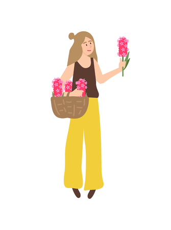 Girl happy to receive flowers on international holiday vector, isolated woman holding hyacinth in hands. Romantic gift on womens day floral present