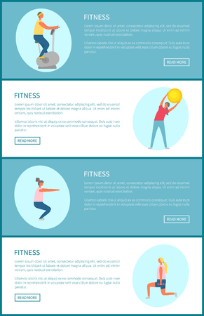 Sport and fitness trainings tips online web page vector. Exercise bike and bending over with ball, squats and lunges with dumbbells, workout plan