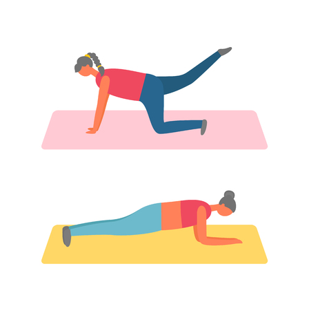 Girls in plank on mat, lifting legs, fitness training and sport exercise vector. Women in sportswear on rugs, daily workout and healthy lifestyle 向量圖像