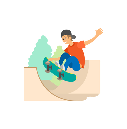 Skateboarding and skate part, teenager on skateboard vector. Extreme sport or outdoor activity, jumping on board, boy in cap and jeans showing trick