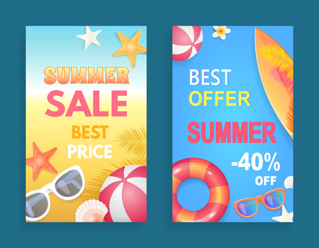 Best offer summer sale set of posters vector. Price reduction decrease of cost. Sunglasses and surfing board with flowers and rubber inflatable ball