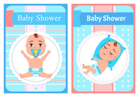Baby shower posters set, newborn lying on its side and sleeping. Vector dormant child in diaper and infant with pacifier sitting and stretching hands