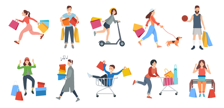 People shopping vector, woman walking with pet holding packages from shops, isolated set. Singing man, male sitting in cart smiling, lady shopaholic Illustration