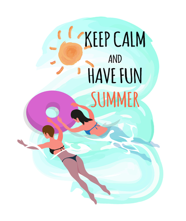 Keep calm and have fun summer, vector women in rubber donut sunbathing, person resting at sea or ocean. Girls in bikini swimsuit swimming and inflatable ring