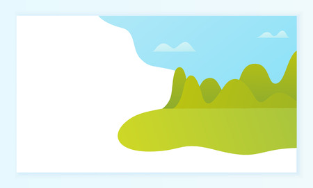 Blank space and landscape piece, trees and grass, wild nature vector. Incomplete picture, lawn and forest under blue sky, view or scene, outdoors Illustration