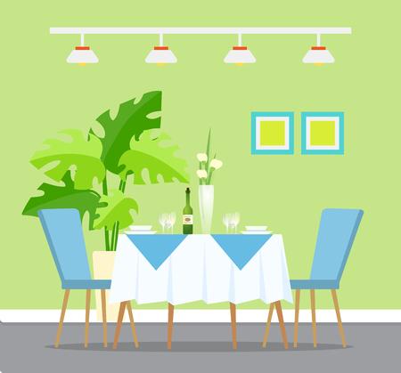 Table avec cadre de dîner, vecteur de design d'intérieur de restaurant. Vin et verres, assiettes et bols, fleurs en vase et plante d'intérieur, tableau et lampes