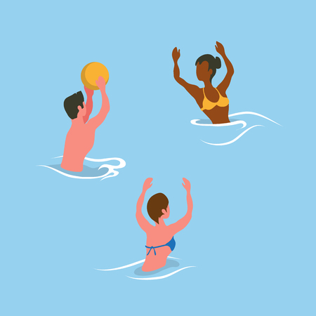 People catching ball in water, summer aqua activity. Man and woman wearing swimsuit, flat design style, splashing and playing volleyball in pool vector