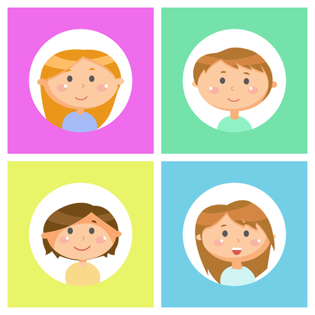 Boys and girls portraits, school children avatars vector. Cartoon male and female characters, pupils with friendly faces, round head, brown and blond hair Illustration