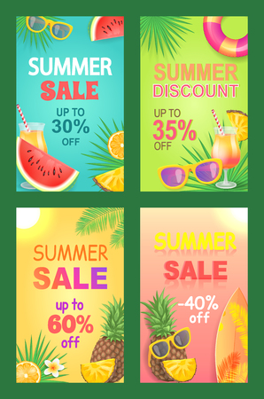 Summer discount sales posters with text set. Reductions and propositions, diminution of cost. Surfing board and lifebuoy attributes of season vector