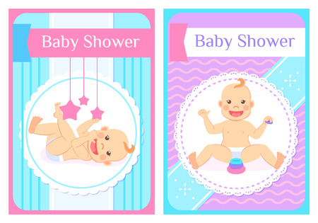 Baby shower greeting cards, child sits without support and playing with blocks and lying on back with mobile stars rattle. Vector infant in diapers Illustration