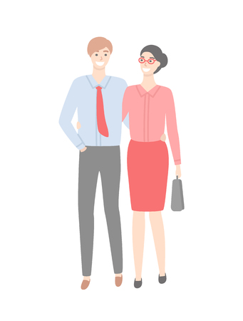 Business couple in strict cloth isolated. Vector male in shirt with tie and trousers and woman in red skirt and blouse, briefcase in hands. Married office workers Ilustração