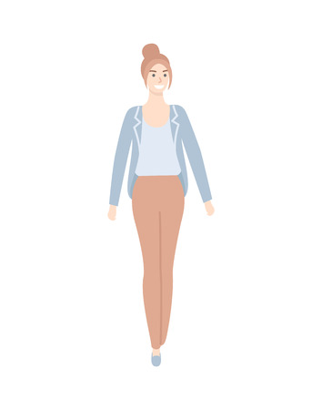 Woman with high hair, in blue jacket and blouse and brown trousers isolated cartoon character. Female in casual cloth, middle age lady in comfortable apparel