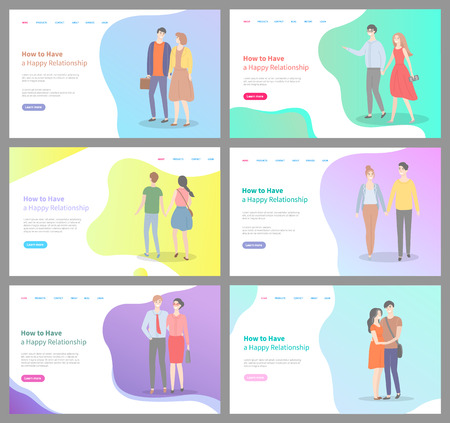 How to build happy relationship vector, people walking and holding hands of each other, couples and pairs, man and woman with deep feelings. Website or webpage template, landing page flat style