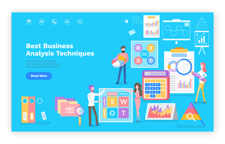 Business analytics technique vector, people dealing with optimization and marketing of product. Infographics on document, searching of info, finance  イラスト・ベクター素材