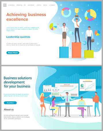 Business solution development and achieving business excellence vector. People with prize and award for success, conference meeting of workers. Website or webpage template, landing page flat style Illustration
