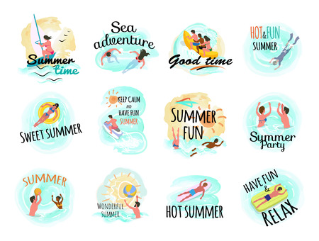 Sea adventures vector set of isolated people on vacation. Beach and seaside, swimming females, lifebuoy and man laying on inflatable mattress, volleyball