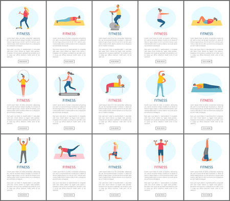 Fitness webpage set, strong people pumping muscles and lose weight, portrait view of people doing exercise, website of healthy lifestyle and sport vector Stock Vector - 123921439