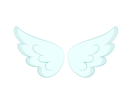 San Valentino o decorazioni natalizie, ali d'angelo del vettore di piume bianche. Accessorio volo e cupido o farfalla, spirito santo, dettaglio creatura fantastica o mitica